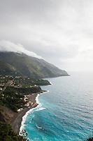 Overlooking the beach of Spiaggia Acquafredda towards Cersuta and Maratea, Basilicata, Italy