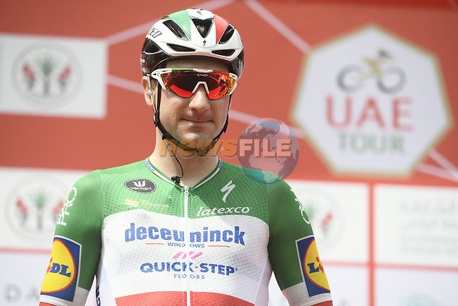 Italian National Champion Elia Viviani (ITA) Deceuninck-Quick Step signs on before the start of Stage 5 of the 2019 UAE Tour, running 181km form Sharjah to Khor Fakkan, Dubai, United Arab Emirates. 28th February 2019.<br /> Picture: LaPresse/Fabio Ferrari | Cyclefile<br /> <br /> <br /> All photos usage must carry mandatory copyright credit (© Cyclefile | LaPresse/Fabio Ferrari)