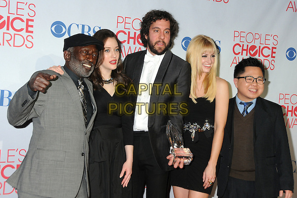 Garrett Morris, Kat Dennings, Jonathan Kite, Beth Behrs and Matthew Moy.2012 People's Choice Awards - Press Room held at Nokia Theatre L.A. Live, Los Angeles, California, USA.  .January 11th, 2012.half length white shirt grey gray suit black dress hand hat jacket award trophy winner beard facial hair.CAP/ADM/BP.©Byron Purvis/AdMedia/Capital Pictures.