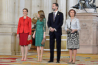 (L-R) Spanish Royals Princess Elena, Princess Letizia, Prince Felipe and Queen Sofia receive International Olympic Committee Evaluation Commission Team for a dinner at the Royal Palace.March 20,2013. (ALTERPHOTOS/Pool) /NortePhoto