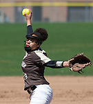 THOMASTON,  CT-041619JS04-Thomaston's Thomaston's Kaya Johnson (14) delivers a pitch during their game with Watertown Tuesday at Thomaston High School.<br />  Jim Shannon Republican American