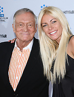"27 September 2017 - Hugh Marston Hefner aka ""Hef"" was an American magazine publisher, editor, businessman, and international playboy best known as the editor-in-chief and publisher of Playboy magazine, which he founded in 1953. Hefner was the founder and chief creative officer of Playboy Enterprises, the publishing group that operates the magazine. Hefner was also a political activist and philanthropist. File Photo: 28 April 2011 - Hollywood, California - Hugh Hefner and his fiancee Crystal Harris. 2011 TCM Classic Film Festival Opening Night Held At The Grauman Chineses Theatre. Photo Credit: Kevan Brooks/AdMedia (Newscom TagID: admphotos649107.jpg) [Photo via Newscom]"