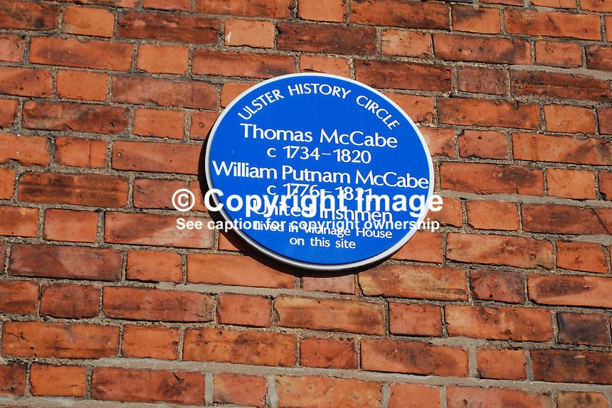 Ulster History Circle Blue Plaque for Thomas McCabe, 1734 to 1820, and William Putnam McCabe, 1776 to 1821, United Irishmen, who lived in Vicinage House on the site today of St Malachy's College, Belfast, N Ireland, UK, 200903312062..Copyright Image from Victor Patterson, 54 Dorchester Park, Belfast, UK, BT9 6RJ..Tel: +44 28 9066 1296.Mob: +44 7802 353836.Voicemail +44 20 8816 7153.Skype: victorpattersonbelfast.Email: victorpatterson@mac.com.Email: victorpatterson@ireland.com (back-up)..IMPORTANT: If you wish to use this image or any other of my images please go to www.victorpatterson.com and click on the Terms & Conditions. Then contact me by email or phone with the reference number(s) of the image(s) concerned.