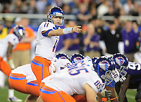 Jan. 4, 2010; Glendale, AZ, USA; Boise State Broncos quarterback (11) Kellen Moore calls a play in the third quarter against the TCU Horned Frogs in the 2010 Fiesta Bowl at University of Phoenix Stadium. Boise State defeated TCU 17-10. Mandatory Credit: Mark J. Rebilas-.