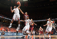 Virginia guard Justin Anderson (1) grabs a rebound next to Virginia Tech guard/forward Marshall Wood (33) during the game Saturday in Charlottesville, VA. Virginia won 65-45.