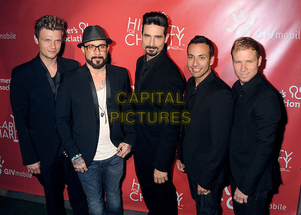 Nick Carter, AJ McLean, Kevin Richardson, Howie Dorough, Brian Littrell of the Backstreet Boys.Hilarity for Charity 2013 held at Avalon, Hollywood, California, USA, .25th April 2013..half length band boy group music black suit  hat glasses jacket jeans blazer suit .CAP/ADM/BP.©Byron Purvis/AdMedia/Capital Pictures