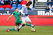 7th January 2018, Estadio Municipal de Butarque, Legales, Spain; La Liga football, Leganes versus Real Sociedad; Joseba Zaldua (Leganes FC) beaten by the run from Mikel Oyarzabal (Real Sociedad)