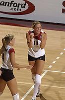 24 September 2005: Kristin Richards during Stanford's 30-22, 31-29, 30-26 win against UCLA Bruins at Maples Pavilion in Stanford, CA