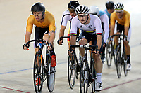 Luke Mudgway (L) of East Coast North Island and Dylan Kennett of Waikato BOP compete in the Elite Men Omnium 4, Points Race 25km, at the Age Group Track National Championships, Avantidrome, Home of Cycling, Cambridge, New Zealand, Saturday, March 18, 2017. Mandatory Credit: © Dianne Manson/CyclingNZ  **NO ARCHIVING**