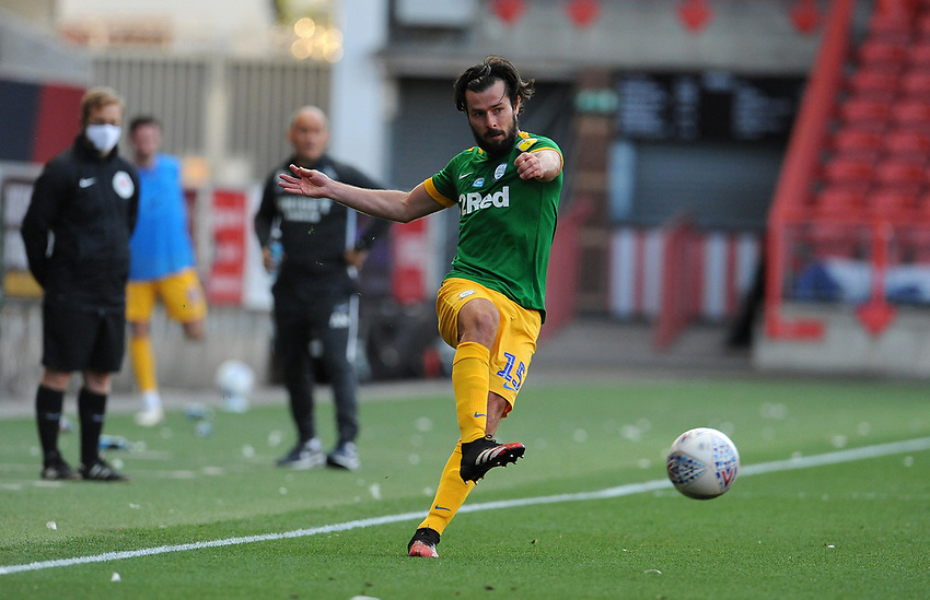 Preston North End's Joe Rafferty during the game<br /> <br /> Photographer Ian Cook/CameraSport<br /> <br /> The EFL Sky Bet Championship - Bristol City v Preston North End - Wednesday July 22nd 2020 - Ashton Gate Stadium - Bristol <br /> <br /> World Copyright © 2020 CameraSport. All rights reserved. 43 Linden Ave. Countesthorpe. Leicester. England. LE8 5PG - Tel: +44 (0) 116 277 4147 - admin@camerasport.com - www.camerasport.com
