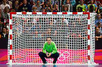 31 JUL 2012 - LONDON, GBR - Great Britain goalkeeper Jesper Parker (GBR) watches play during the men's London 2012 Olympic Games Preliminary round match against Sweden at The Copper Box in the Olympic Park, in Stratford, London, Great Britain .(PHOTO (C) 2012 NIGEL FARROW)