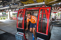 Austria, Kitzbuhel, Juli 15, 2015, Tennis, Davis Cup, Dutch team, Jean-Julien Rojer comes out of the cablecar<br /> Photo: Tennisimages/Henk Koster