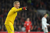 Kasper Schmeichel of Denmark in action during the UFEA Nations League B match between Wales and Denmark at The Cardiff City Stadium in Cardiff, Wales, UK. Friday 16 November 2018