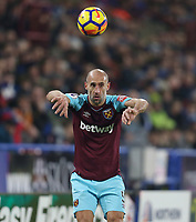 West Ham United's Pablo Zabaleta<br /> <br /> Photographer Rob Newell/CameraSport<br /> <br /> The Premier League - Huddersfield Town v West Ham United - Saturday 13th January 2018 - John Smith's Stadium - Huddersfield<br /> <br /> World Copyright &copy; 2018 CameraSport. All rights reserved. 43 Linden Ave. Countesthorpe. Leicester. England. LE8 5PG - Tel: +44 (0) 116 277 4147 - admin@camerasport.com - www.camerasport.com