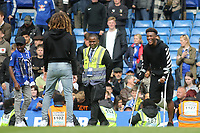 Callum Hudson-Odoi of Chelsea on his crutches in a cheerful mood as joins his teammates on the pitch to thank the fans for their support during Chelsea vs Watford, Premier League Football at Stamford Bridge on 5th May 2019
