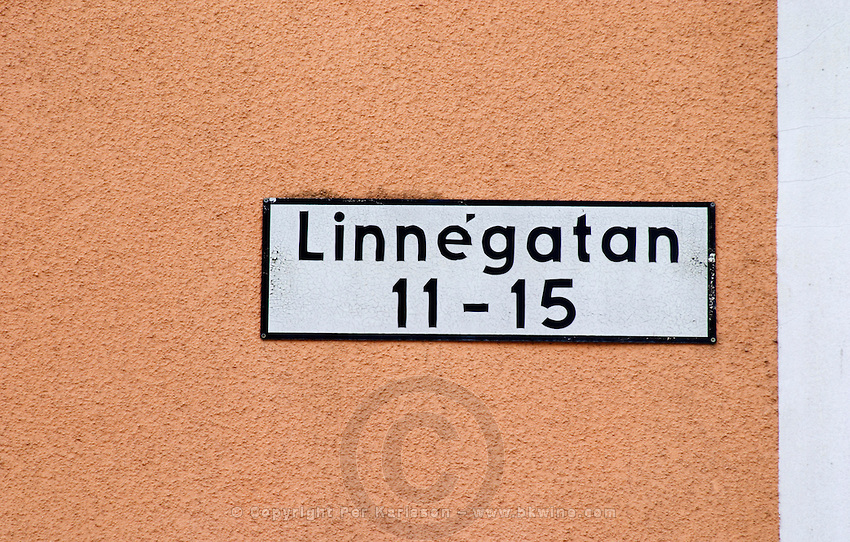 A street named after Carl Linnaeus Linné Linne, Linnégatan. Vaxjo town. Smaland region. Sweden, Europe.