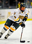 21 February 2009: University of Vermont Catamount forward and Team Captain Dean Strong, a Senior from Mississauga, Ontario, in action against the University of Massachusetts River Hawks at Gutterson Fieldhouse in Burlington, Vermont. The River Hawks shut out the Catamounts 1-0. Mandatory Photo Credit: Ed Wolfstein Photo