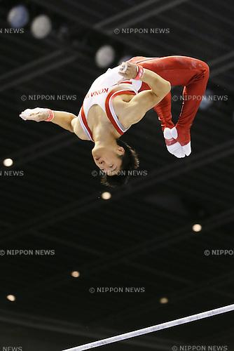 Koji Uematsu (JPN), <br /> June 30, 2013 - Artistic Gymnastics : <br /> The 67th All Japan Artistic Gymnastics Apparatus Championship, Men's Horizontal Bar Final <br /> at Tokyo Metropolitan Gymnasium, Tokyo, Japan. <br /> (Photo by Daiju Kitamura/AFLO SPORT)