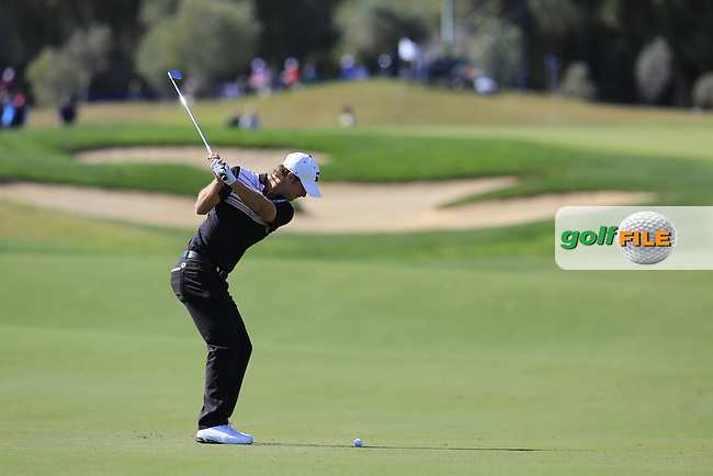 Jens Fahrbring (SWE) plays his 2nd shot on the 1st hole during Saturday's Round 3 of the 2016 Portugal Masters held at the Oceanico Victoria Golf Course, Vilamoura, Algarve, Portugal. 22nd October 2016.<br /> Picture: Eoin Clarke | Golffile<br /> <br /> <br /> All photos usage must carry mandatory copyright credit (&copy; Golffile | Eoin Clarke)