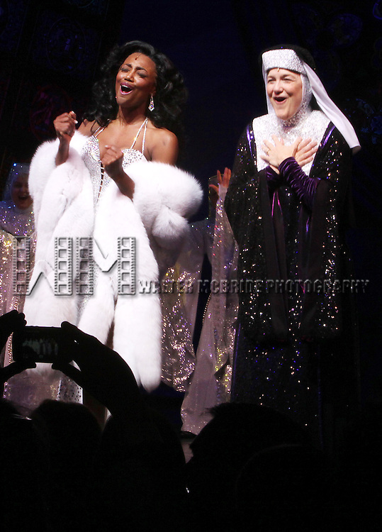 \Patina Miller, Victoria Clark\.during  the Broadway Opening Night Curtain Call for 'Sister Act' in New York City.