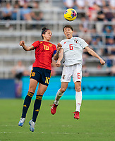 ORLANDO, FL - MARCH 05: Jennifer Hermoso #10 of Spain goes up for a header with Hina Sugita #6 of Japan during a game between Spain and Japan at Exploria Stadium on March 05, 2020 in Orlando, Florida.