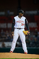 Arkansas Travelers relief pitcher Thyago Vieira (39) looks in for the sign during a game against the Midland RockHounds on May 25, 2017 at Dickey-Stephens Park in Little Rock, Arkansas.  Midland defeated Arkansas 8-1.  (Mike Janes/Four Seam Images)