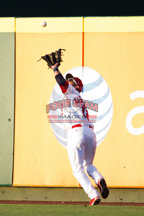 Alex Castellanos (18) of the Springfield Cardinals catches a ball hit to deep right center field during a game against the Tulsa Drillers at Hammons Field on July 18, 2011 in Springfield, Missouri. Tulsa defeated Springfield 13-8. (David Welker / Four Seam Images)