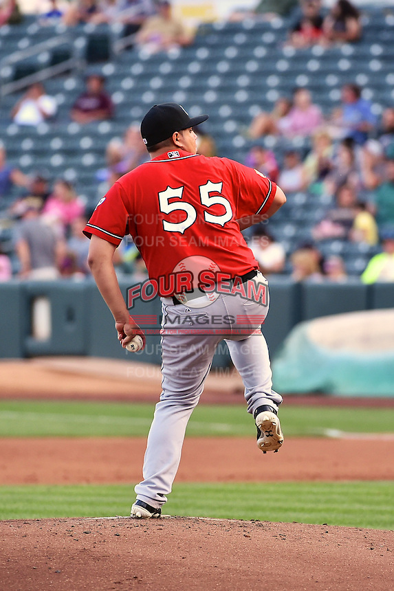 El Paso Chihuahuas starting pitcher Juan Pablo Oramas (55) delivers a pitch to the plate against the Salt Lake Bees in Pacific Coast League action at Smith's Ballpark on August 7, 2014 in Salt Lake City, Utah.  (Stephen Smith/Four Seam Images)