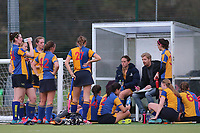 Half time team talk during Upminster HC Ladies vs Holcombe HC Ladies 1A, East Region League Field Hockey at the Coopers Company and Coborn School on 11th November 2017