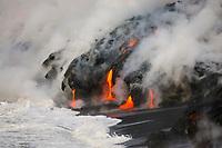 Ocean entry lava flow, Kilauea volcano, Hawaii, USA Volcanoes National Park, The Big Island of Hawaii, USA