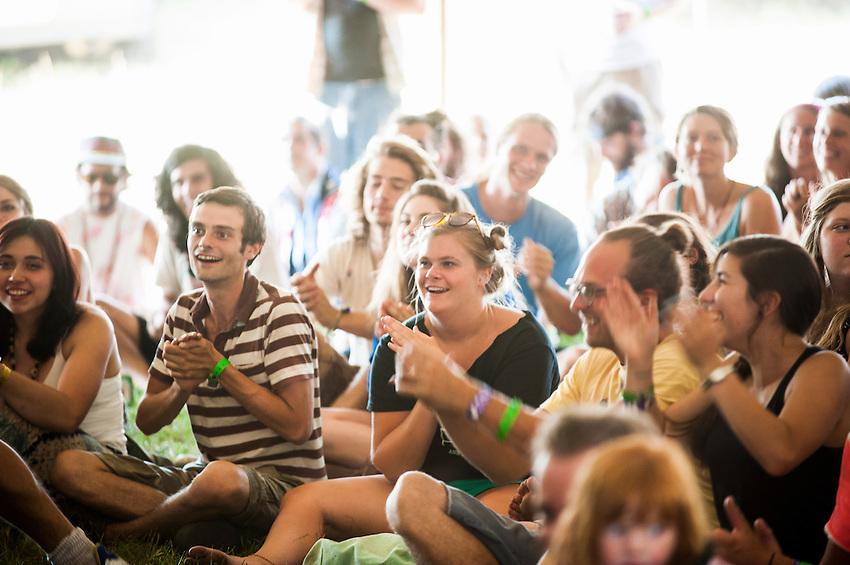 Fans of Breathe Owl Breathe enjoy a show at Blissfest music festival in Michigan.