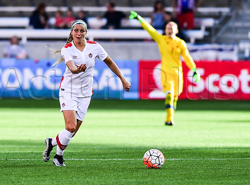 19.02.2016. Houston, TX, USA. Canada Defender Shelina Zadorsky (4) looks to pass during the Women's Olympic qualifying soccer match between Canada and Costa Rica at BBVA Compass Stadium in Houston, Texas.