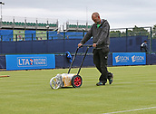 June 10th 2017,  Nottingham, England; WTA Aegon Nottingham Open Tennis Tournament day 1; Line marking on one of the outside courts after overnight rain