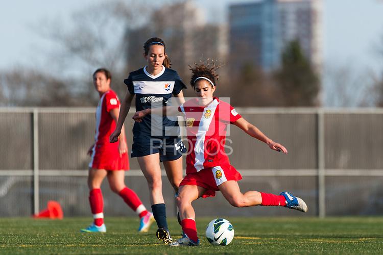 Western New York Flash midfielder Angela Salem (6). Sky Blue FC defeated the Western New York Flash 1-0 during a National Women's Soccer League (NWSL) match at Yurcak Field in Piscataway, NJ, on April 14, 2013.