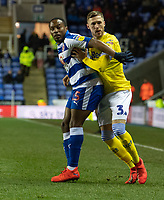 Leeds United's Barry Douglas (right) vies for possession with Reading's Callum Harriott (left) <br /> <br /> Photographer David Horton/CameraSport<br /> <br /> The EFL Sky Bet Championship - Reading v Leeds United - Tuesday 12th March 2019 - Madejski Stadium - Reading<br /> <br /> World Copyright &copy; 2019 CameraSport. All rights reserved. 43 Linden Ave. Countesthorpe. Leicester. England. LE8 5PG - Tel: +44 (0) 116 277 4147 - admin@camerasport.com - www.camerasport.com