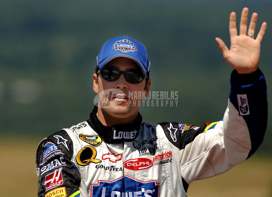 Aug. 13, 2006; Watkins Glen, NY, USA; Nascar Nextel Cup driver Jimmie Johnson (48) prior to the AMD at the Glen at Watkins Glen International. Mandatory Credit: Mark J. Rebilas..