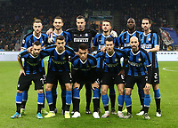 Calcio, Serie A: Inter Milano - AS Roma, Giuseppe Meazza stadium, December 6, 2019.<br /> Inter's players pose for the pre match photograph prior to the Italian Serie A football match between Inter and Roma at Giuseppe Meazza (San Siro) stadium, on December 6, 2019.<br /> UPDATE IMAGES PRESS/Isabella Bonotto