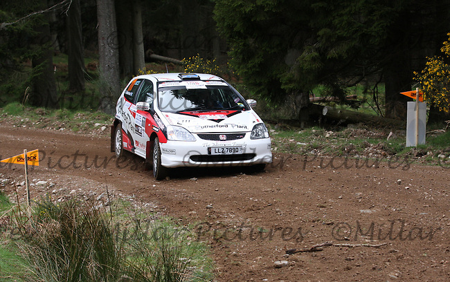 Craig Rutherford / Martin MacCabe in the Honda Civic Type R at Junction 2 of the Bruce McCombie Special Stage 1Durris of the Coltel Granite City Rally 2012 which was based at the Thainstone Agricultural Centre, Inverurie.