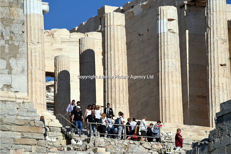 Pictured: The entourage of the French politician's wife at the Parthenon in Athens, Greece. Thurday 07 September 2017<br /> Re: Brigitte Macron, the wife of French President Emmanuel Macron, was given a tour of the Acropolis by Betty (Peristera) Baziana, the wife of Greek Prime Minister ALexis Tsipras during their state visit to Athens, Greece.