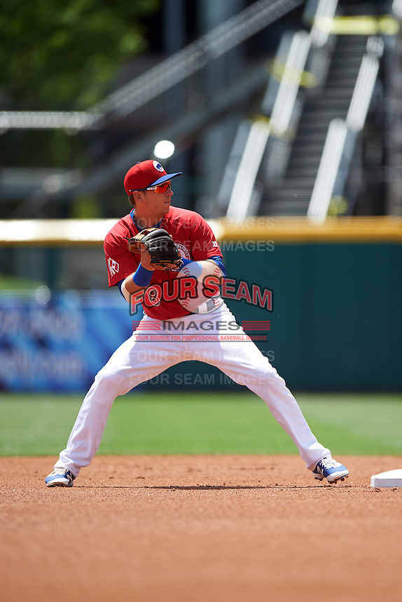 Buffalo Bisons second baseman Andy Burns (8) attempts to turn a double play during a game against the Scranton/Wilkes-Barre RailRiders on July 2, 2016 at Coca-Cola Field in Buffalo, New York.  Scranton defeated Buffalo 5-1.  (Mike Janes/Four Seam Images)