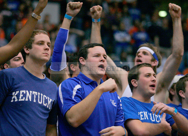 Kentucky fans cheer during the second half of the game against Auburn at Beard-Eaves-Memorial Coliseum in Auburn, Ala. on Saturday. Photo by Zach Brake | Staff