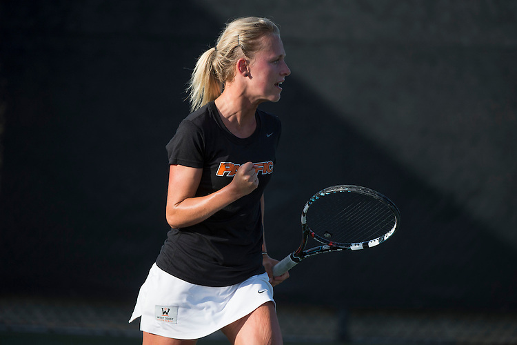 April 23, 2014; San Diego, CA, USA; Pacific Tigers player Hana Ritterova during the WCC Tennis Championships at Barnes Tennis Center.