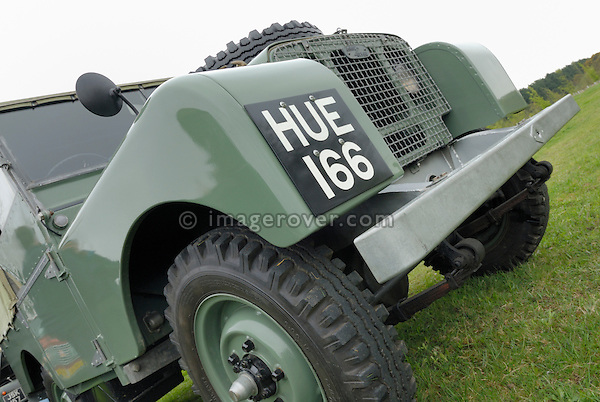 The very first Land Rover carrying the registration number HUE 166. HUE 166 was presented to the public April 30th 1948 on the Amsterdam Motor Show. Now restored and housed at the Gaydon Heritage Centre, UK. Europe, England, UK. --- No releases available. Automotive trademarks are the property of the trademark holder, authorization may be needed for some uses. --- Info: Hue 166 is the first of the 48 prototypes built. Its chassis number is LR1 and the vehicle rolled out of the factory on March 11, 1948. Chassis number three was the one that was presented to the public at the Amsterdam motor show on April 30, 1948. It was innovative in that it offered permanent four-wheel drive, a power take-off (PTO) at the rear to run farm equipment and it had three front seats. It was a practical, genuine all-rounder vehicle never seen before.