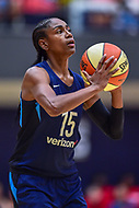 Washington, DC - August 31, 2018: Atlanta Dream guard Tiffany Hayes (15) shoots a free throw during semi finals playoff game between Atlanta Dream and Wasington Mystics at the Charles Smith Center at George Washington University in Washington, DC. (Photo by Phil Peters/Media Images International)