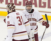Joe Woll (BC - 31), Colin White (BC - 18) - The visiting Merrimack College Warriors defeated the Boston College Eagles 6 - 3 (EN) on Friday, February 10, 2017, at Kelley Rink in Conte Forum in Chestnut Hill, Massachusetts.