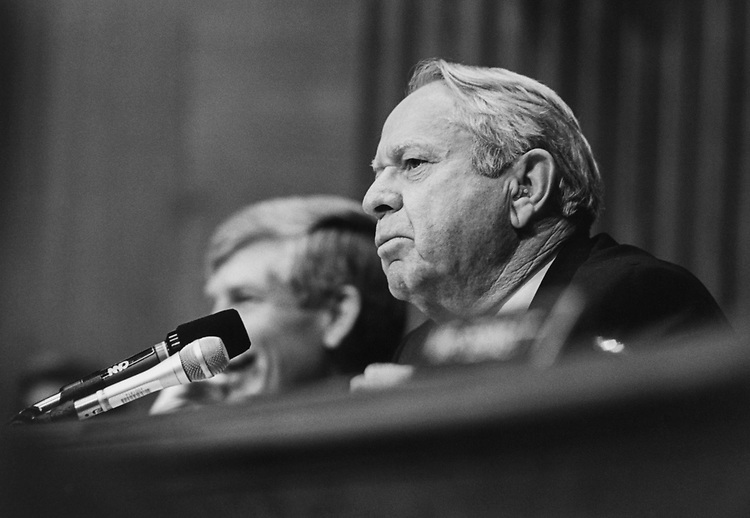 Sen. Lauch Faircloth, R-N.C. during the White ater hearings in Aug. 1994. (Photo by Chris Martin/CQ Roll Call)