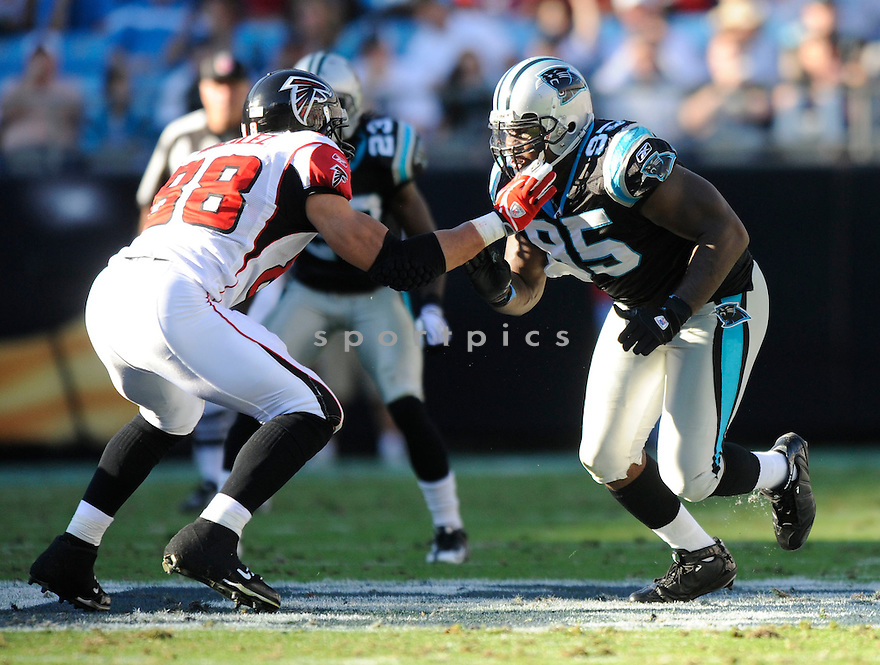 CHARLES JOHNSON, of the Carolina Panthers, in action during the Panthers game against the Atlanta Falcons on November 15, 2009 in Charlotte, NC. Panthers won 28-19.