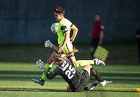 Seattle, WA - Saturday July 23, 2016: Keelin Winters, Kaitlyn Savage during a regular season National Women's Soccer League (NWSL) match between the Seattle Reign FC and the Orlando Pride at Memorial Stadium.