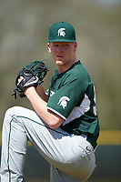 Michigan State Spartans pitcher Walter Borkovich (35) poses for a photo after a game against the Illinois State Redbirds on March 8, 2016 at North Charlotte Regional Park in Port Charlotte, Florida.  Michigan State defeated Illinois State 15-0.  (Mike Janes/Four Seam Images)