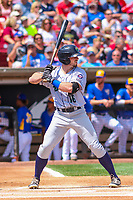 Cedar Rapids Kernels outfielder Jimmy Kerrigan (16) at bat during a Midwest League game against the Wisconsin Timber Rattlers on August 6, 2017 at Fox Cities Stadium in Appleton, Wisconsin.  Cedar Rapids defeated Wisconsin 4-0. (Brad Krause/Four Seam Images)